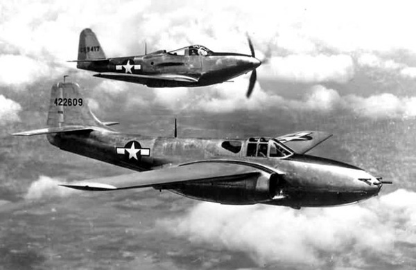 P-63 and P-59 in the air